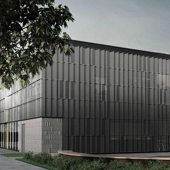 Kafle 3D PLANK z betonu architektonicznego - MILKE - TEKT Concrete - elewacja Centrum Innowacji Fabryki Maszyn