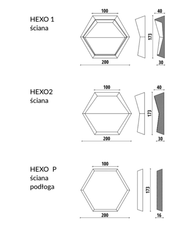 HEXO - linia TEKT Concrete - MILKE - wymiary