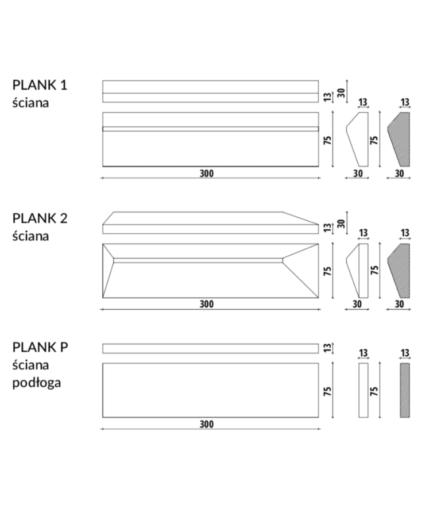 PLANK - linia TEKT Concrete - MILKE - wymiary