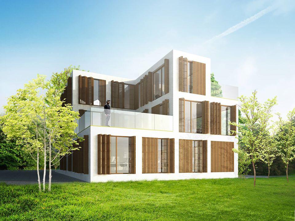 Płyty betonowe GRC MILKE na elewacji budynku - wizualizacja OVO Grąbczewscy Architekci