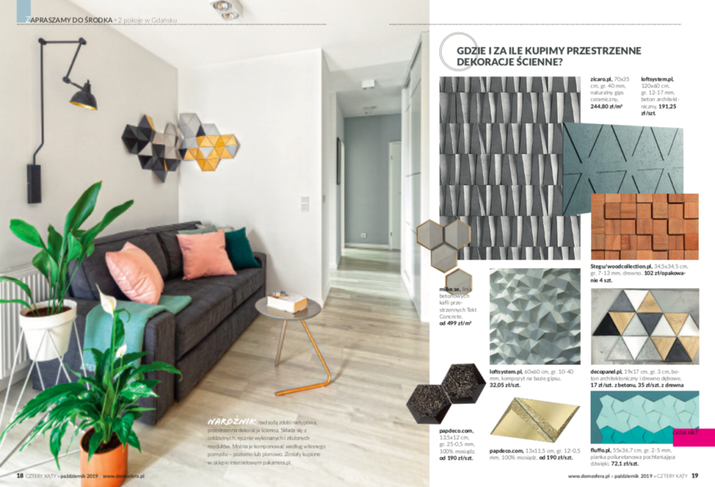 Kafle HEXO TEKT Concrete w magazynie wnętrzarskim