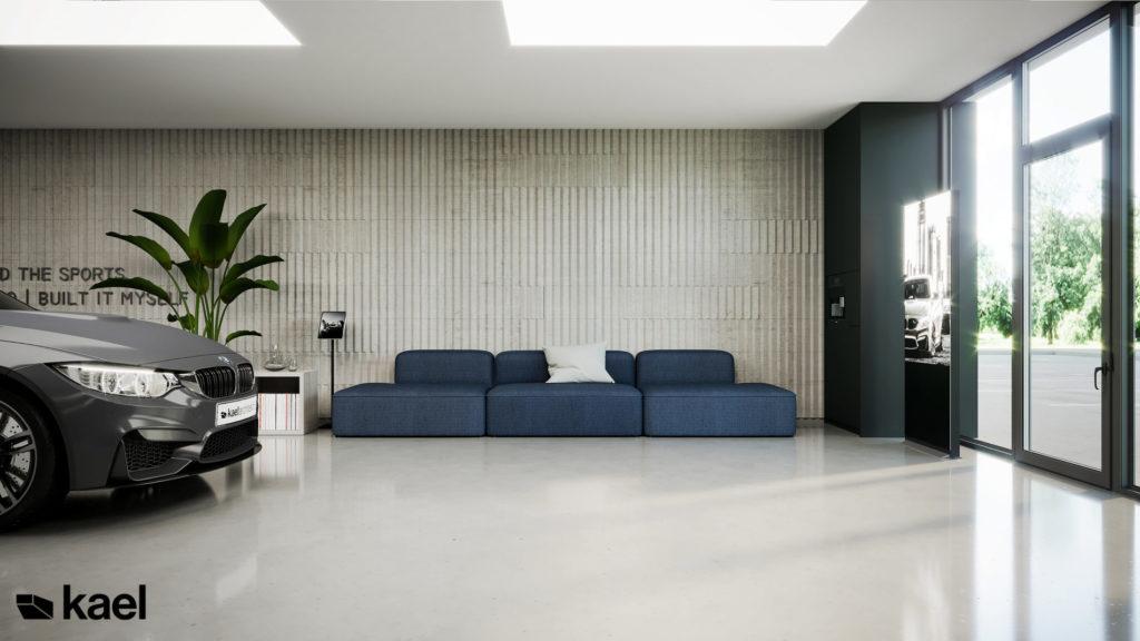 Kafle 3D PLANK z betonu architektonicznego myjnia samochodowa - MILKE - TEKT Concrete - Gabinet Wnętrz