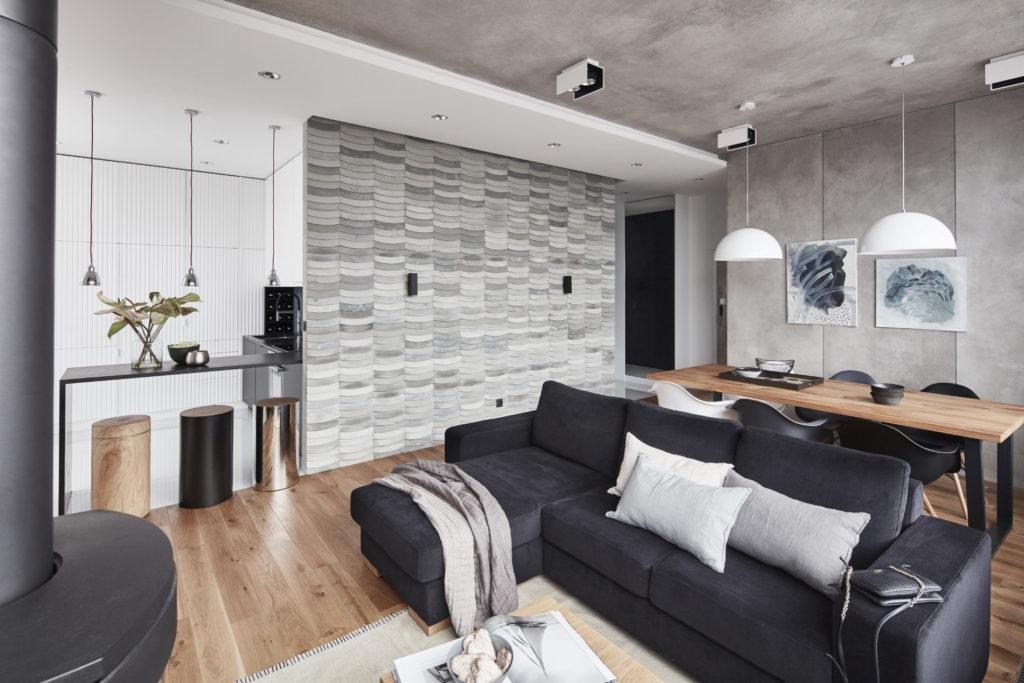 Kafle 3D WAVE z betonu architektonicznego na ścianie w salonie - MILKE - TEKT Concrete - Gabinet Wnętrz