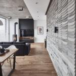 Kafle 3D WAVE z betonu architektonicznego w salonie - MILKE - TEKT Concrete - Gabinet Wnętrz