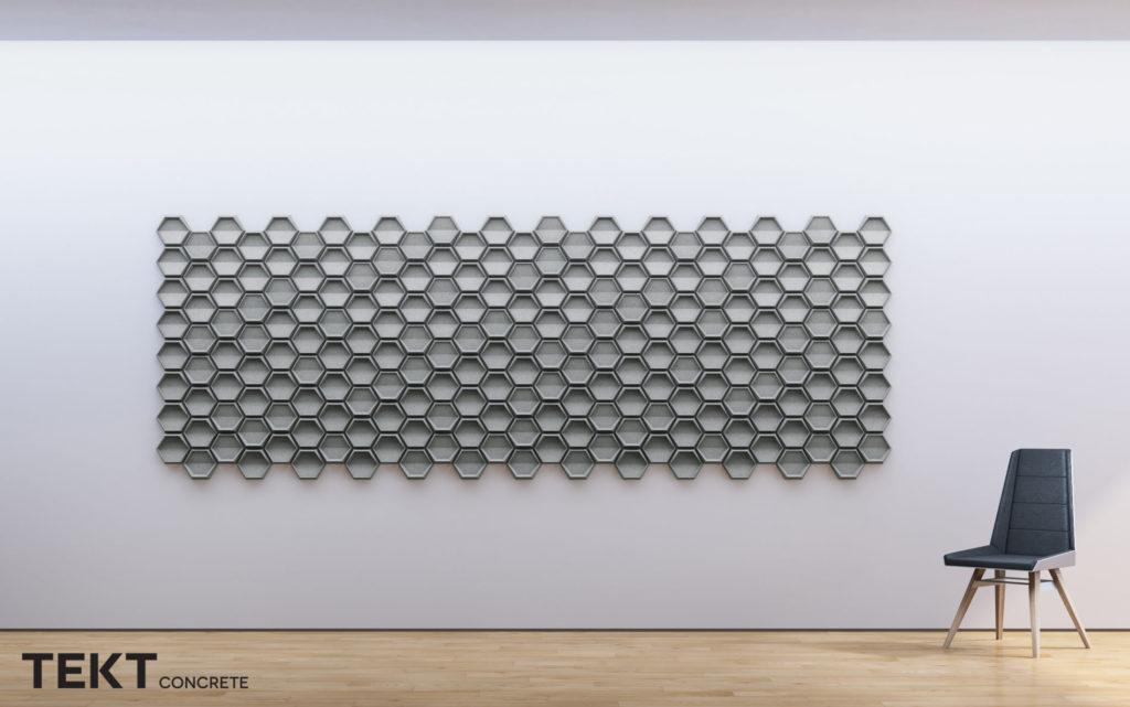 Kompozycja obraz z kafli 3D HEXO - TEKT Concrete - MILKE