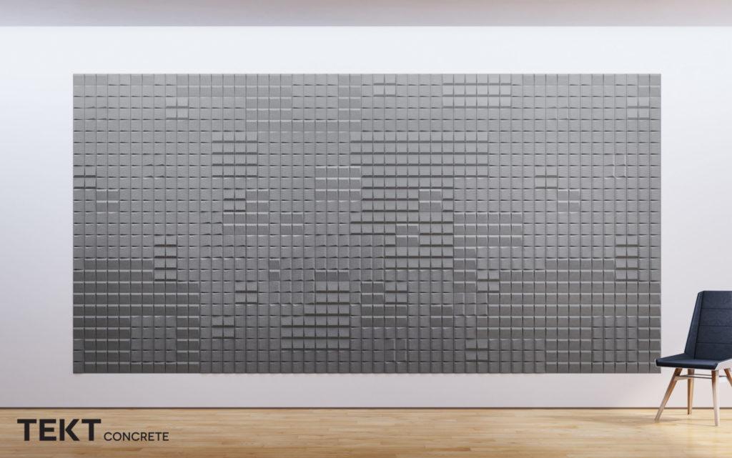 Kompozycja obraz z kafli 3D SQR mini - TEKT Concrete - MILKE