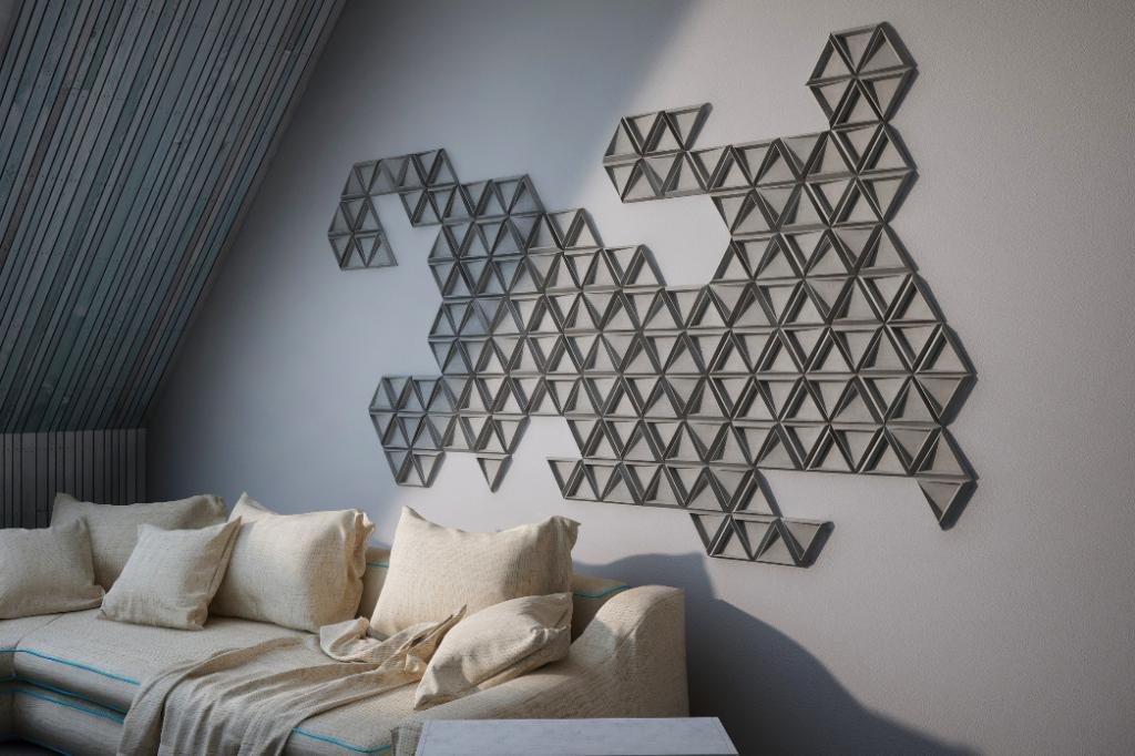 Kafle 3D TRIX z betonu architektonicznego - TEKT Concrete - MILKE w mieszkaniu
